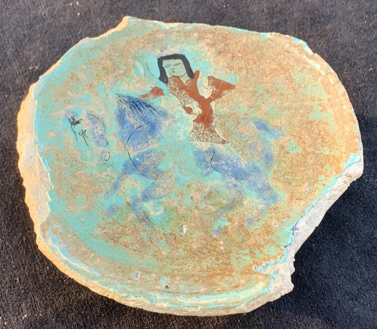 Ix - Xth Minaï Shard Ceramic , Islamic Cavalier, Turquoise Background, Iridescent