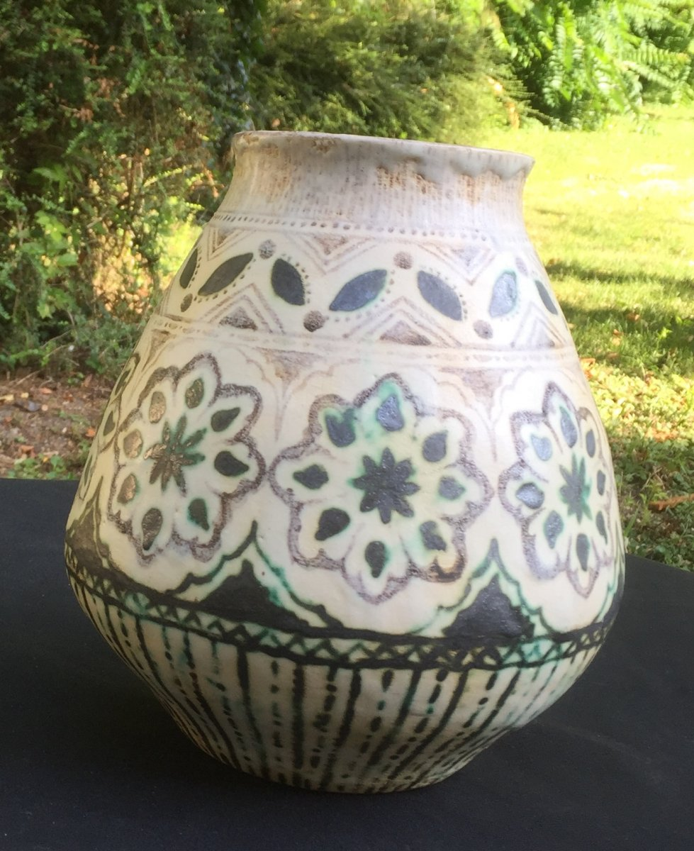 Art Déco Céramique Vase, Geometric Design With Oriental Influence
