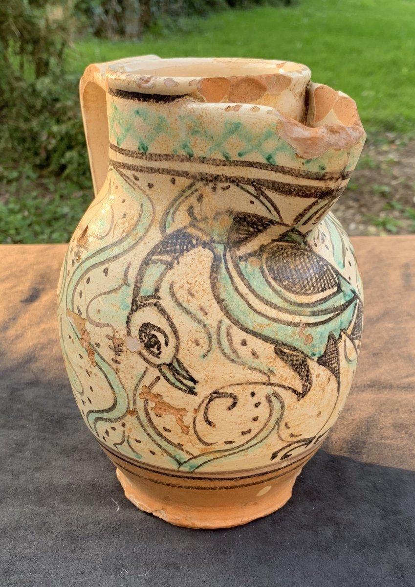 Début XVe Pichet  'Panata' décor oiseau Viterbo (Toscane)