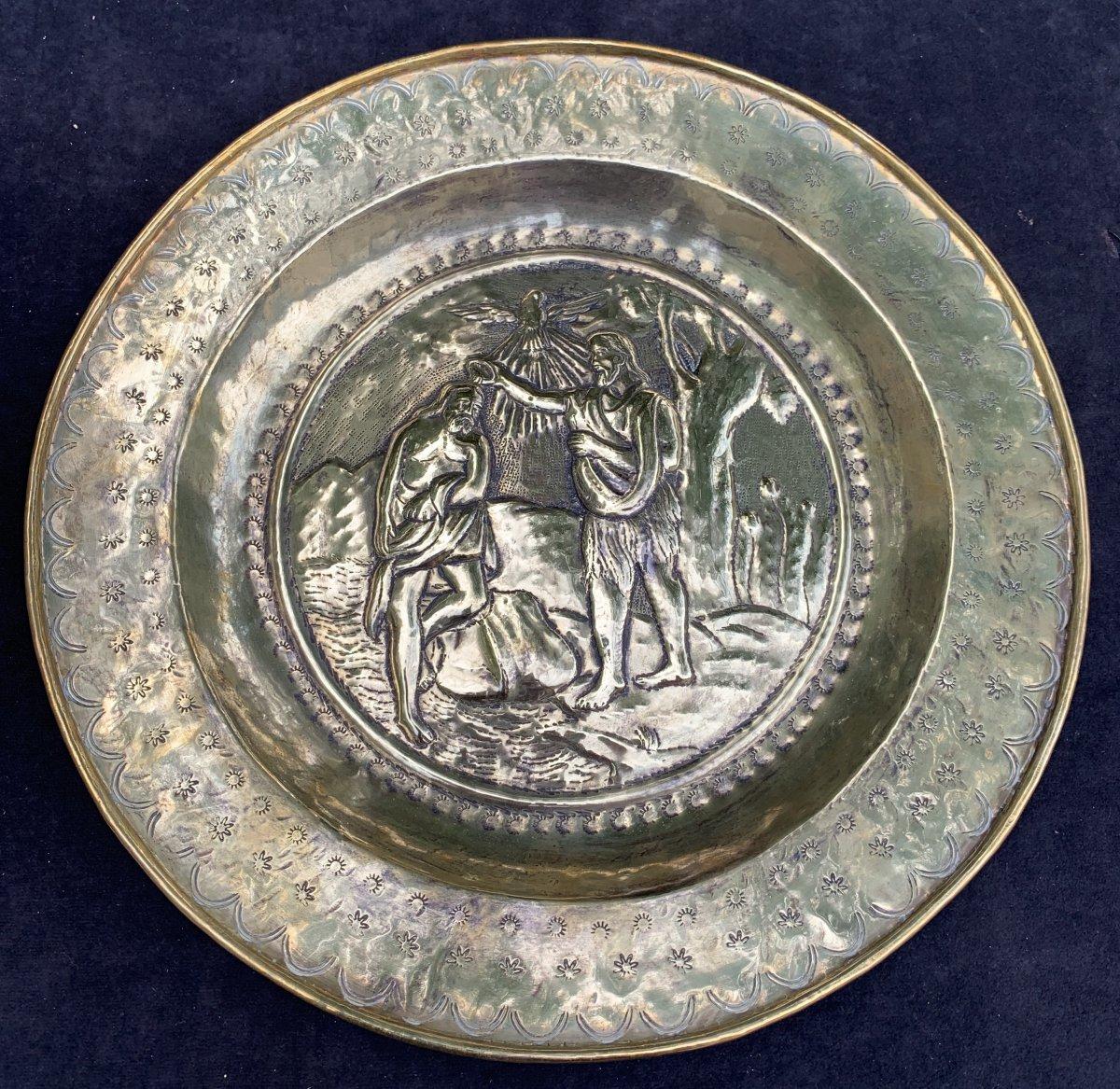 Pendant 2 plats quête laiton XVIIe Le baptême du Christ & lapidation St Etienne-photo-2