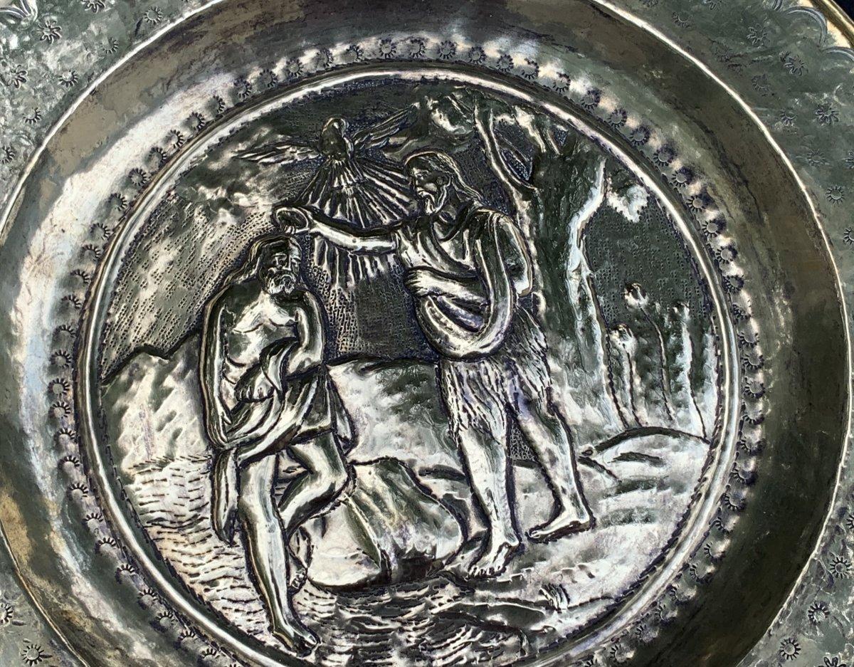 Pendant 2 plats quête laiton XVIIe Le baptême du Christ & lapidation St Etienne-photo-3