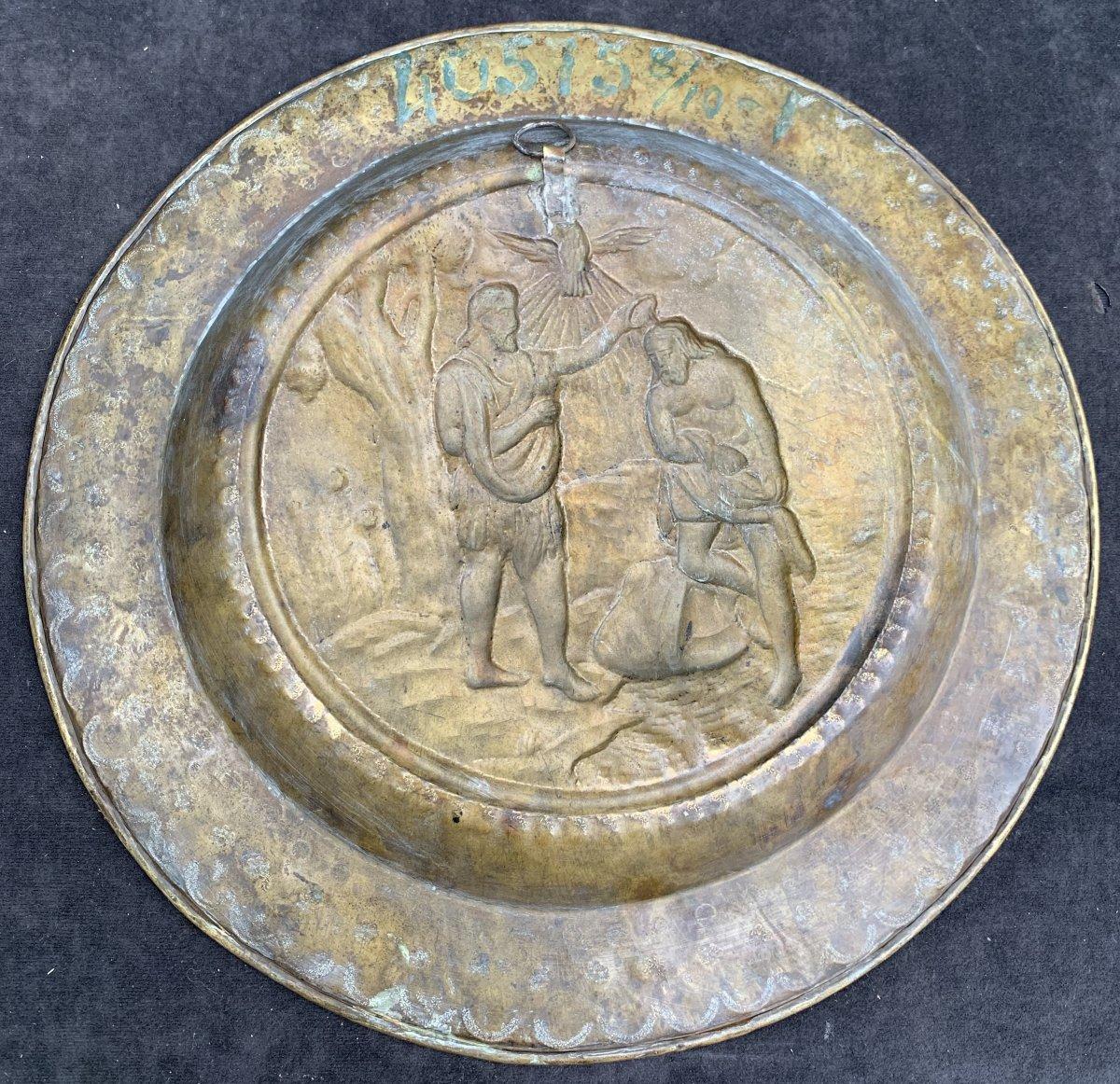 Pendant 2 plats quête laiton XVIIe Le baptême du Christ & lapidation St Etienne-photo-4