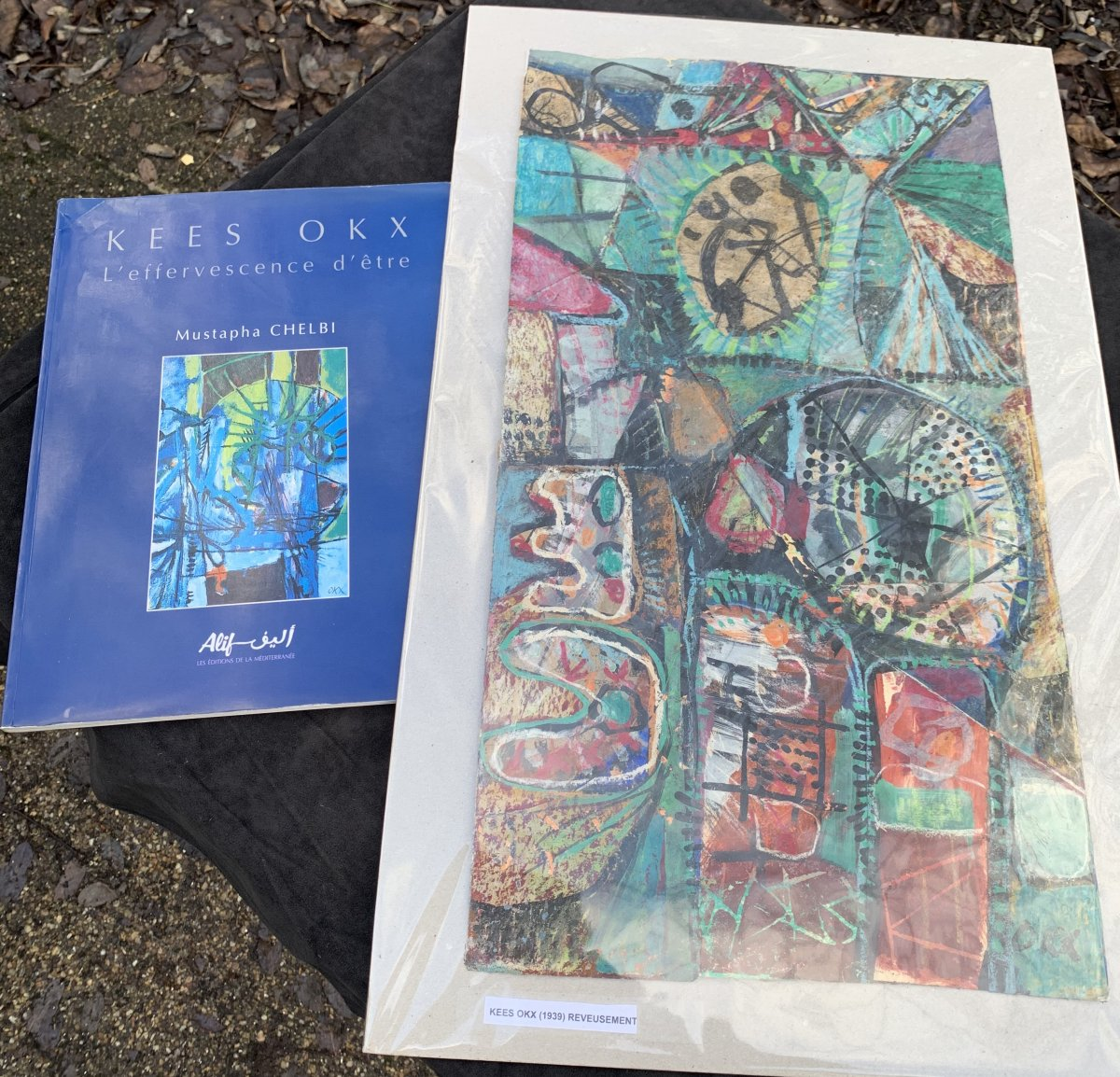 Oeuvre d'art mixte (collage / peinture) Kees OKX, Ecole Harlem, PB XXe s-photo-3
