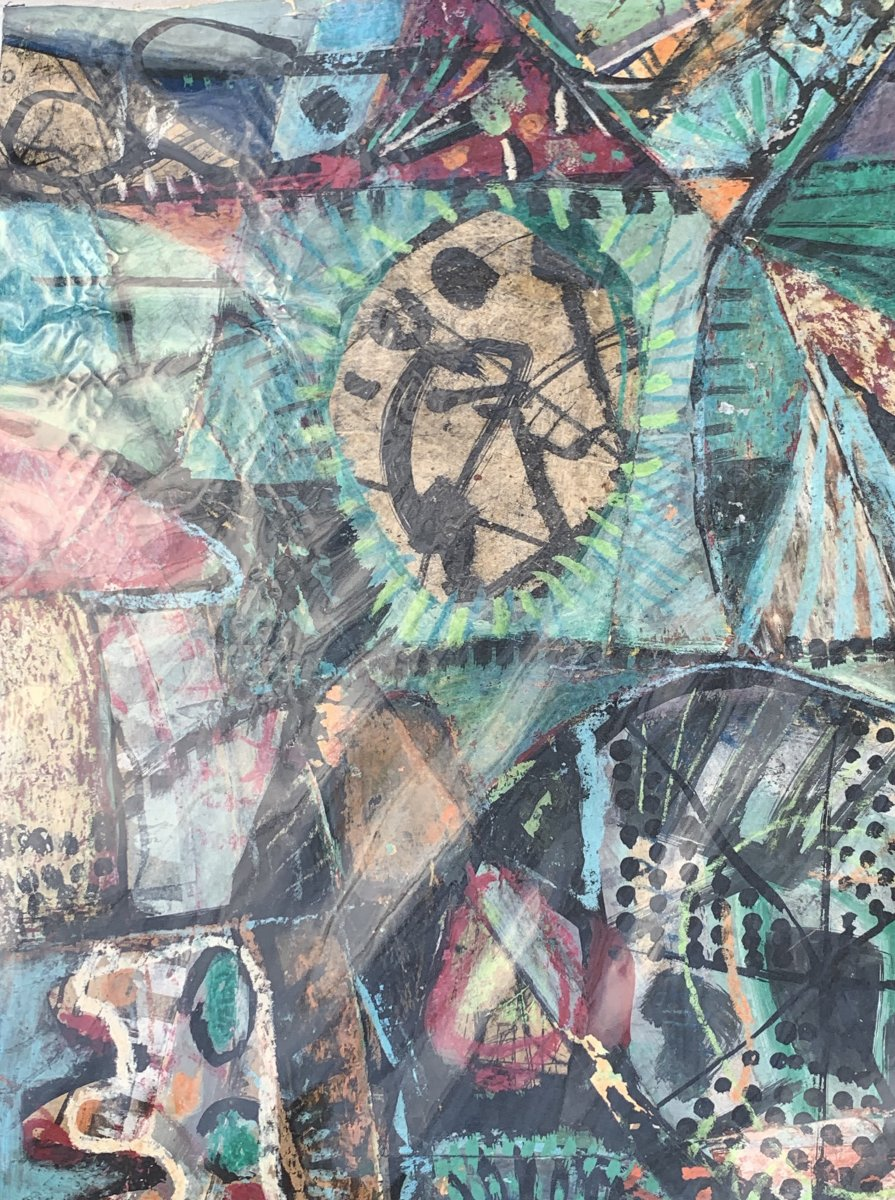 Oeuvre d'art mixte (collage / peinture) Kees OKX, Ecole Harlem, PB XXe s-photo-2