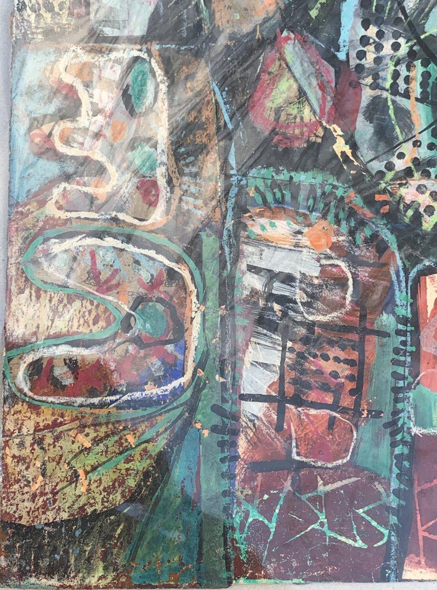 Oeuvre d'art mixte (collage / peinture) Kees OKX, Ecole Harlem, PB XXe s-photo-4