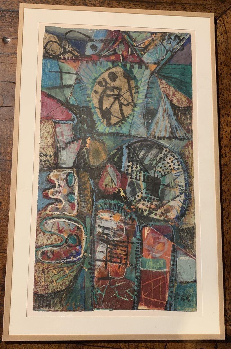 Oeuvre d'art mixte (collage / peinture) Kees OKX, Ecole Harlem, PB XXe s-photo-1