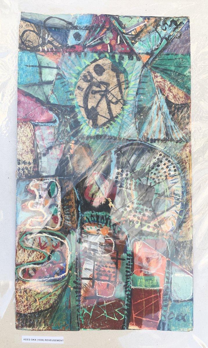 Mixed Art Work(collage /paintng) Kees Okx, Harlem School, Pb XXth
