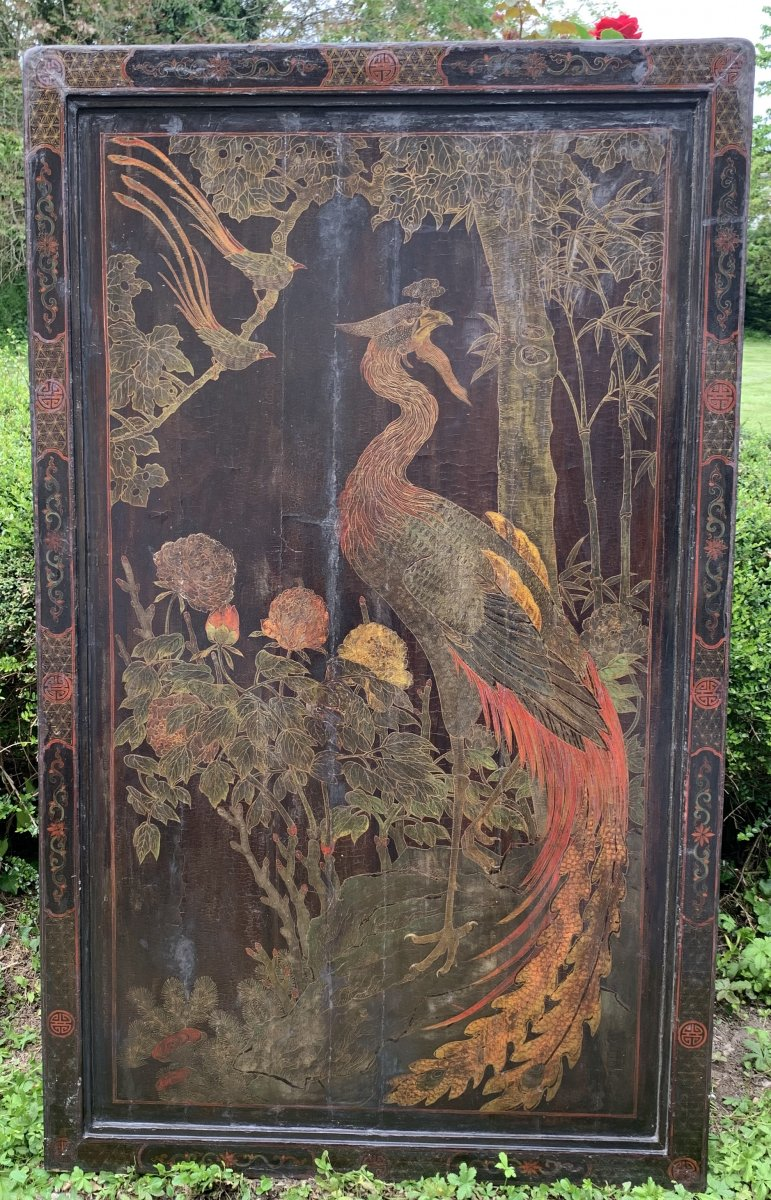 Gd panneau laque Chine début XIXe double face, scène animée pagodes & personnages, phoenix