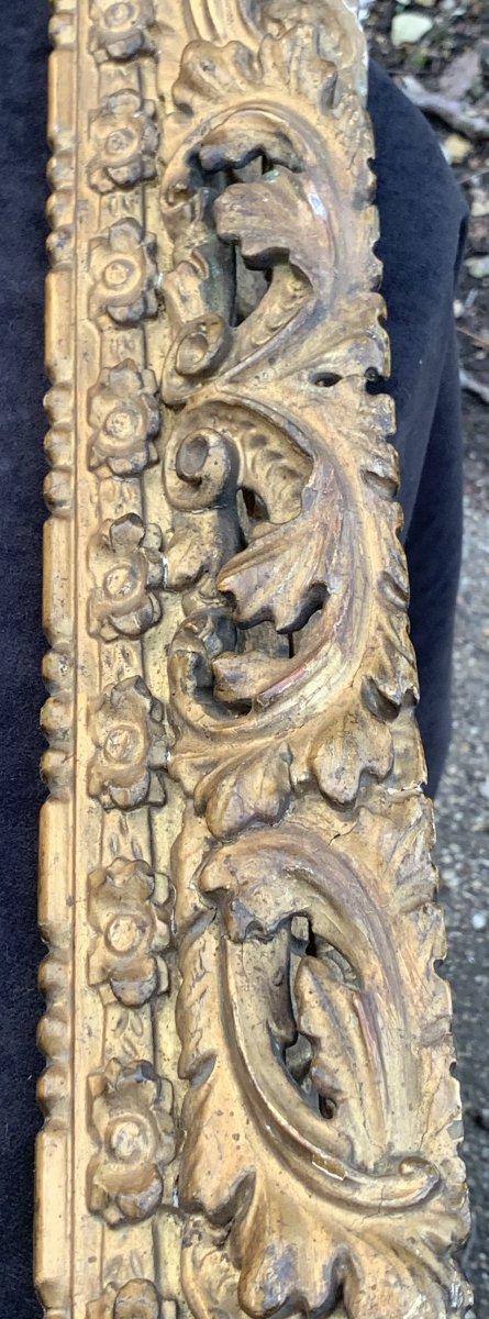 Cadre époque Louis XIII en bois doré sculpté et ajouré-photo-1
