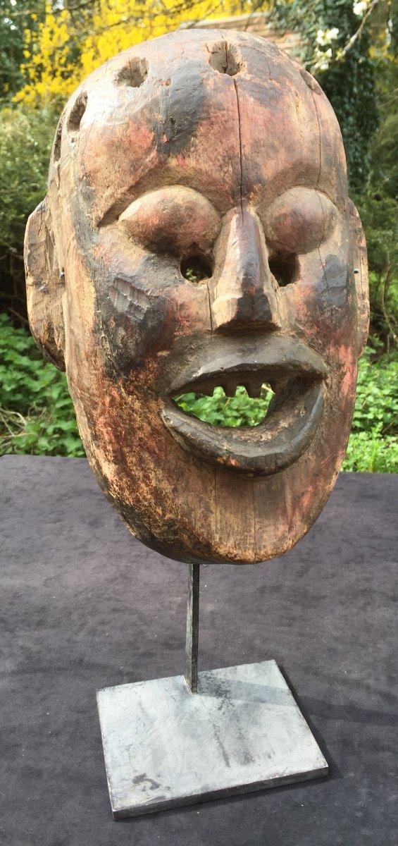 Polychrome Wooden Mask Nepal Late XIXth Century, Iron Base