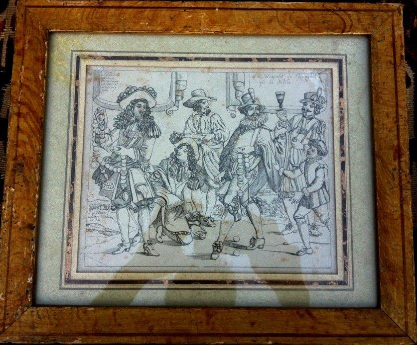 Ep Louis XIV, Gravure politique & satirique, cadre bois peint original