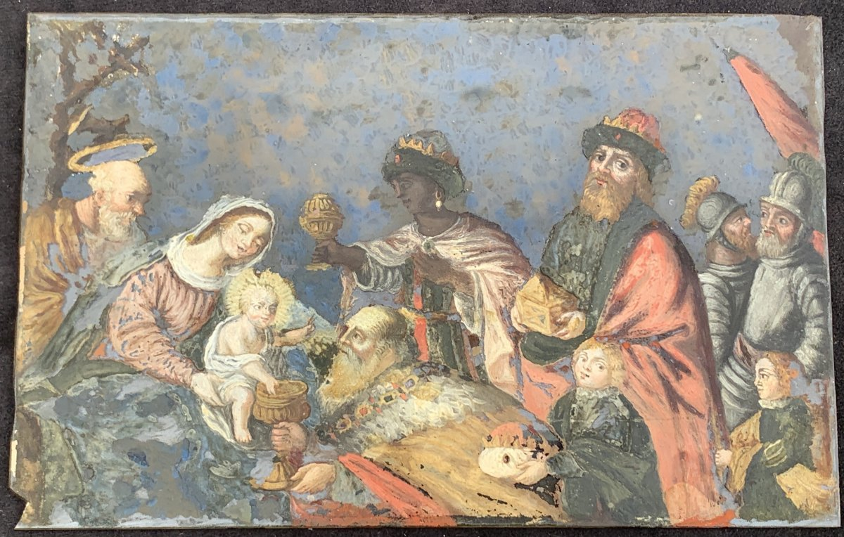 Rare Under Glass Fixed Painting XVIIth  Adoration Of The Magi