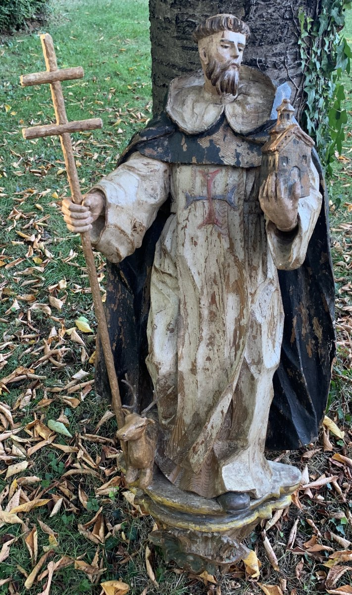 St Jean De Matha Large Statue, On Its Original Base, Spain Middle XVIIth Cty