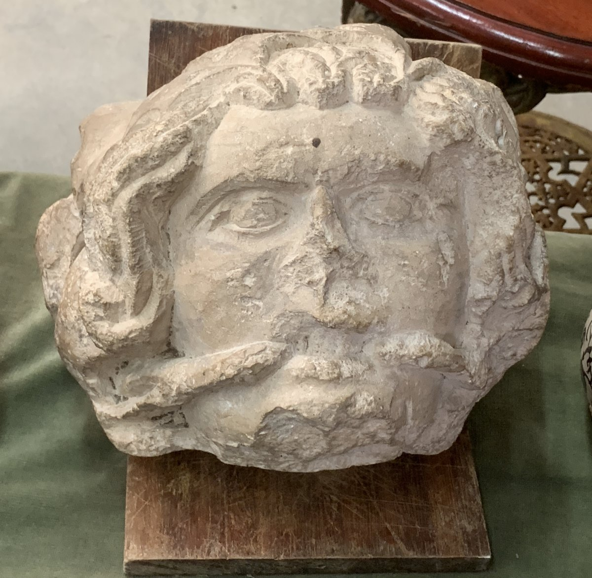 XIVth Head Limestone Fossil Carved Grotesque W Shackle