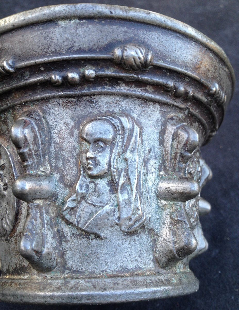 Bronze Mortar XVII Religious Appliques, Anne De Bretagne, Virgin Child ...