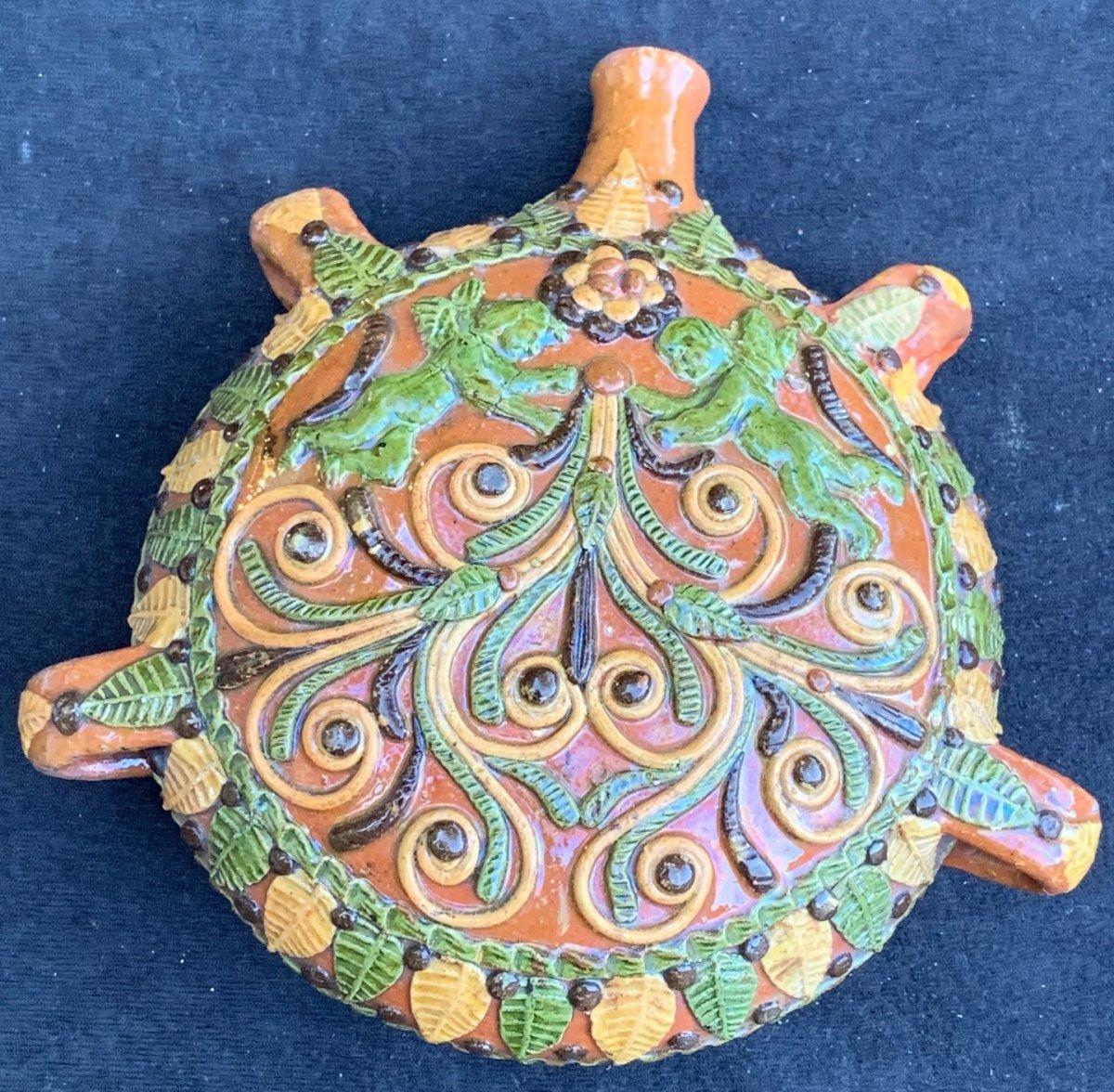 XIXth Century Glazed Earthenware Gourd  With Angels, Esp?