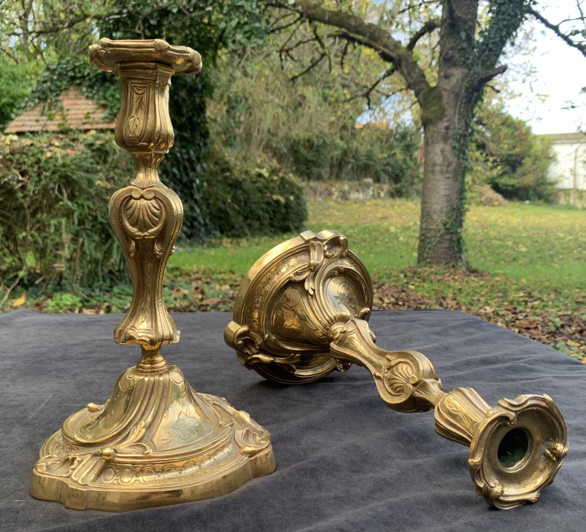 Superb Pair Of Louis XV Gilt Bronze Chiseled Candlesticks