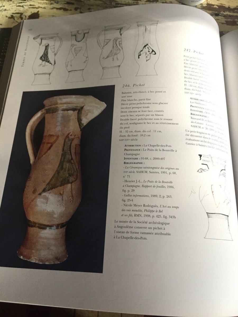 XII-XIIIe Rare gd pichet médiéval écussons peints-photo-6
