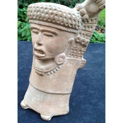 Grand, expressif et authentique sifflet  en terre cuite précolombien,  Culture Maya, Mexique