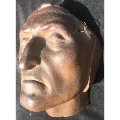 Mask Of Dante In Sandstone Brown By Pierre Adrien Dalpayrat