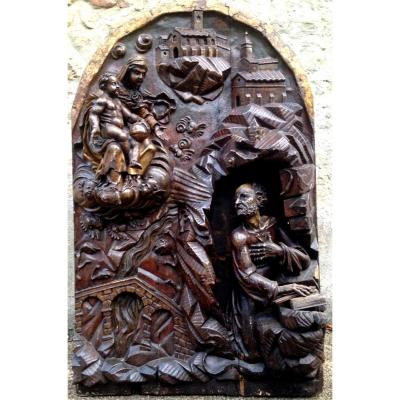 Big Wooden Carved Painted Altarpiece Late 16th Early 17th Cty