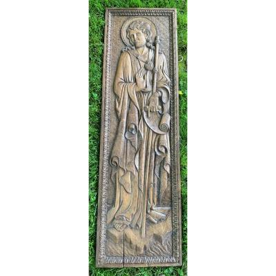 Gd panneau en noyer sculpté (H 1,54m) représentant St Jacques Le Majeur,  Vénitie XVe s