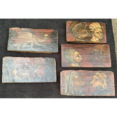 Set 5 Medieval Ceiling Painted Panels, Grotesques & Fantastic Animals