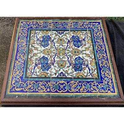 Gd panneau de 25 carreaux céramique Perse XIXe s motif floral rayonnant
