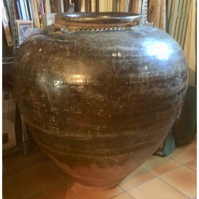Jarre géante céramique émail brun époque Ming parfait état