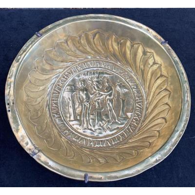 Big Size & Rare Offering Brass Basin  XVIth Cty The Original Sin, Adam & Eve On Paradise Garden