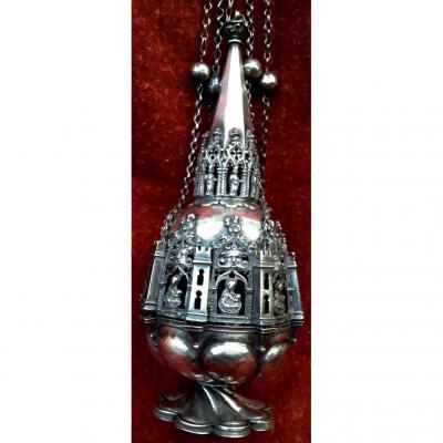 Gd encensoir argent massif ép gothique XVe XVIe s ciselé ajouré, scènes bibliques & fenestrages