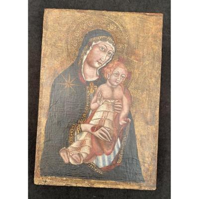 Peinture primitive italienne vierge à l'enfant fond or HST marouflée sur panneau Venise XIIIe s