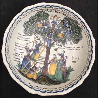 """Saladier faïence Nevers dit """"à l'Arbre d'Amour"""", daté 1804 & ANCRE DE MARINE DE LOIRE"""