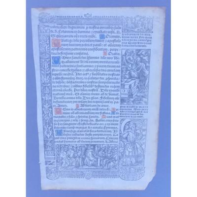 Page livre d'Heures ptes vignettes gravées dont vanité attr à Simon Vostre XVe XVIe s