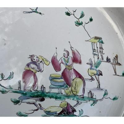 XVIIIth Moustiers Ceramic Plate Chinese, Pagodas, Terrace, After Jb Pillement Engraves
