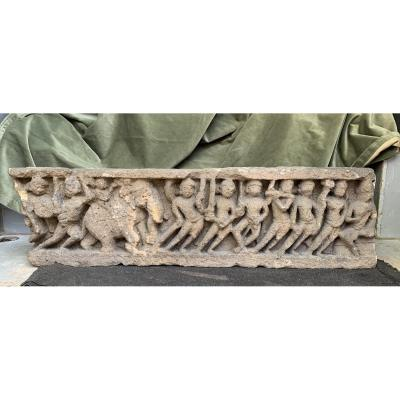 Fragmentary  Carved Stone Frieze Panel, Battle Scene Krishna Elephant Xth