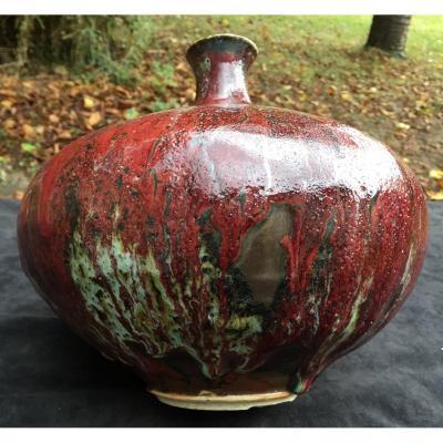 Yves & Suzanne RYBCZYNCKI, St Jorioz 1970's vase céramique sang de bœuf