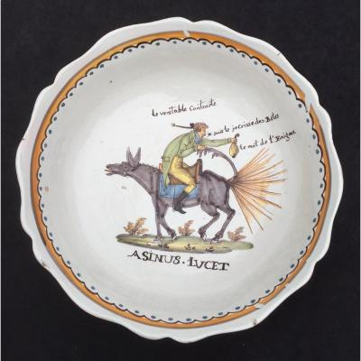 1804 Nevers Ceramic Cup, Gentleman Riding Upside Down 1 Donkey Who... Farts!