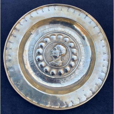 Plat offrande/quête XVIe diam 36cm profil empereur romain Cicéron
