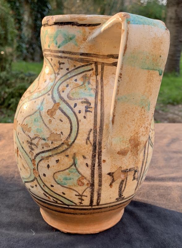 Début XVe Pichet  'Panata' décor oiseau Viterbo (Toscane)-photo-4