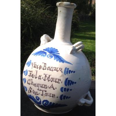 Large Nevers XVIIIth Ceramic Gourde / Bottle ,  Wine Thema
