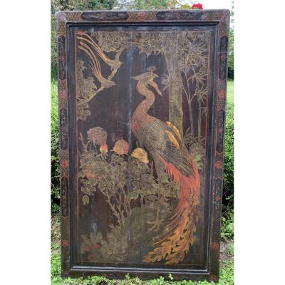 Large Double Side Laquer Screen Panel, China Early XIXth, Animated Landscape & Phoenix