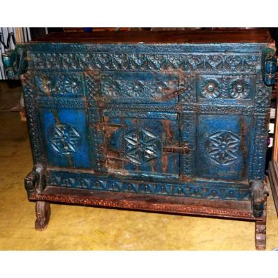 Traditional Indian Furniture Pittara Carved Wood Polychrome Blue, On High Legs XIX-xxth