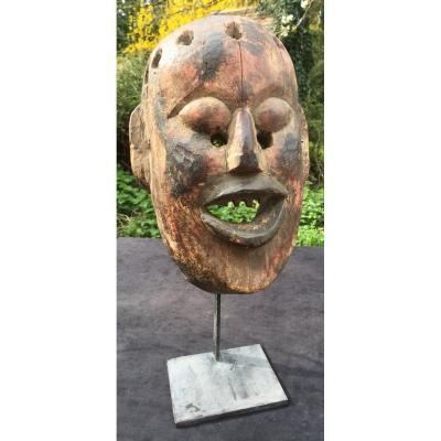 Masque en bois polychrome Népal fin XIXe s, soclé