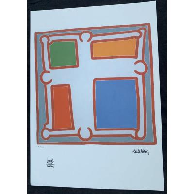Keith HÄring (1958-1990) Silkscreen Prints, Justified; Dry Stamp Prints Of His Foundation