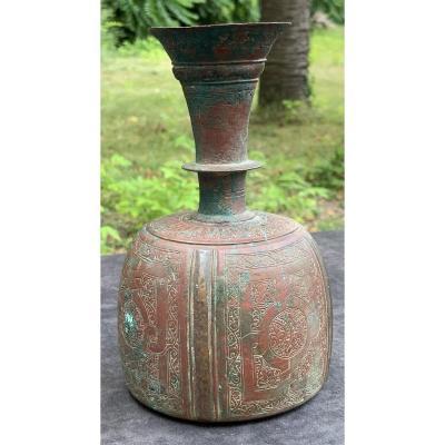 XII-xivth Red & Green Bronze Korosan Bottle, Persia, Pseudo Epigraphic Legend