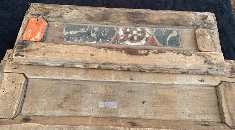 XIXe 2 Panneaux boiserie Art islamique écritures stylisées relief-photo-2