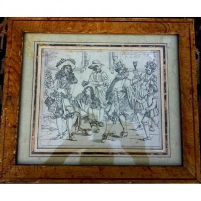 Ep Louis XIV, Political & Satirical Engraving, Original Painted Wooden Frame