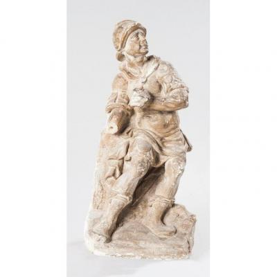 Stone Wall Statue, Early XVIIth Cty, Helmeted Roman Soldier