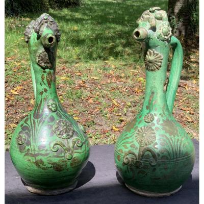 Pair Green Ceramic Pitchers Canakkale (turkey) , Early XIXth Cty